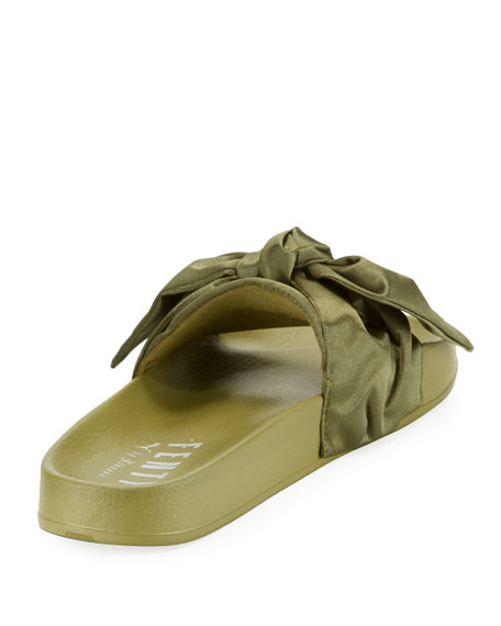 the best attitude fd15e 56dbb Bow Satin Flat Slide Sandal Green