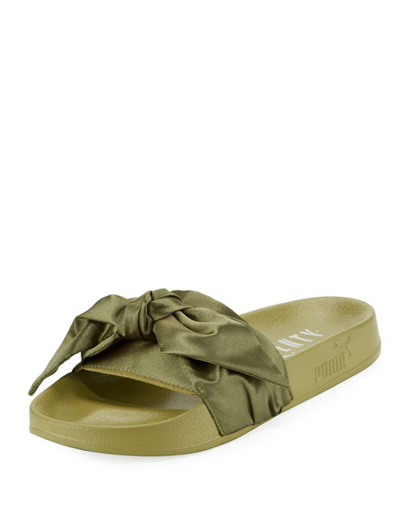 Bow Satin Flat Slide Sandal, Green