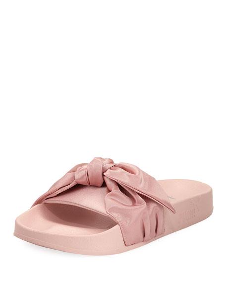 Bow Satin Flat Slide Sandal, Pink