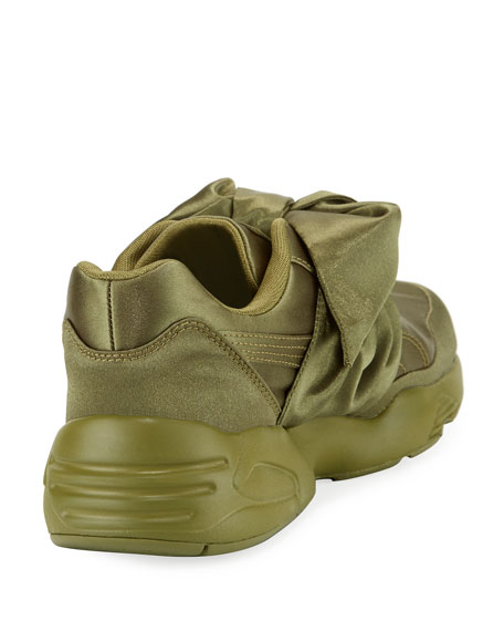Trinomic Knotted Bow Satin Sneaker, Green