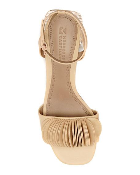 Riza Petal-Embellished Block-Heel Sandals, Beige