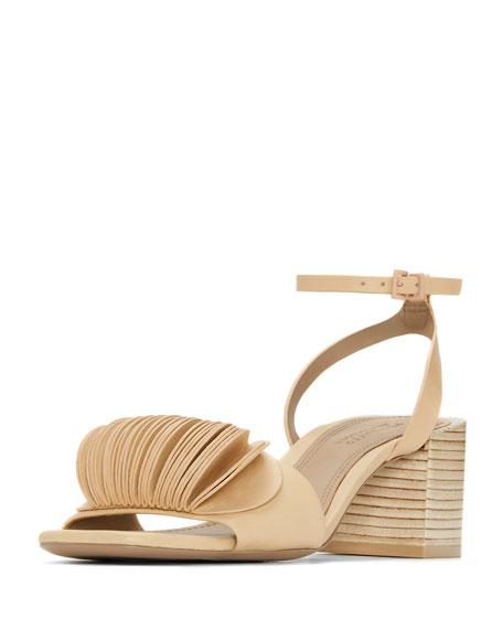 Riza Petal-Embellished Block-Heel Sandal, Beige