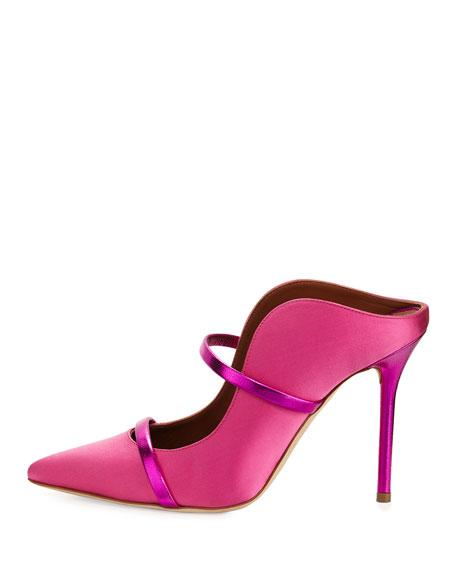 Maureen Satin Two-Strap Mule Pump, Pink