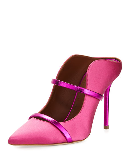 Maureen Satin Two-Strap Mule Pump, Pink