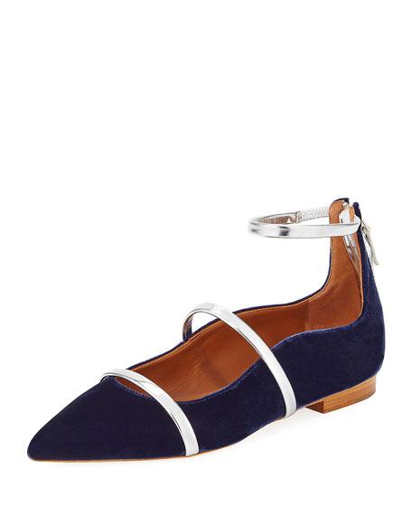 Robyn Velvet Ankle-Strap Flat, Navy