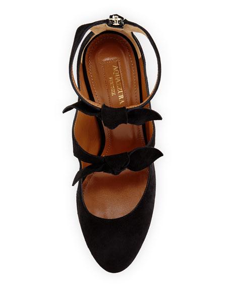 Sandy Suede Block-Heel Bow Pump, Black