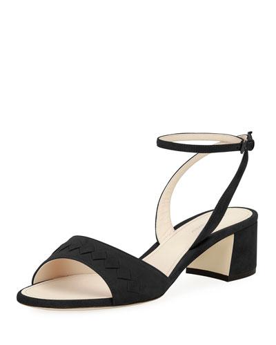 Intrecciato Suede Ankle-Wrap Sandal, Black
