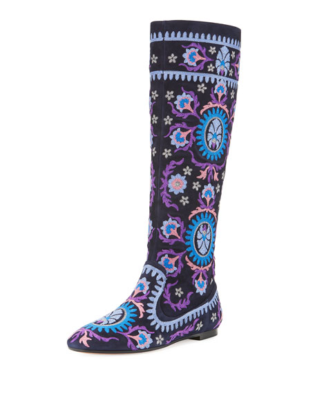 Suzani Embroidered Suede Boot, Navy