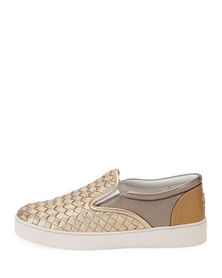 Intrecciato Leather Skate Sneaker, Gray