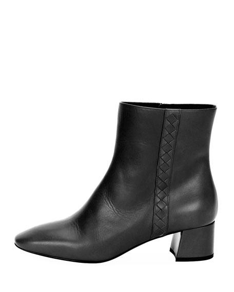 Intrecciato-Trim Leather Ankle Boot