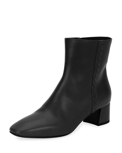 Intrecciato-Trim Leather Ankle Boot, Black