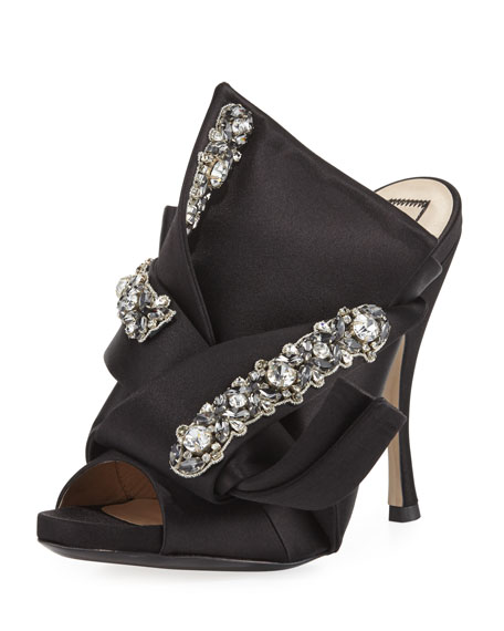 Jeweled Satin 100mm Mule Sandal
