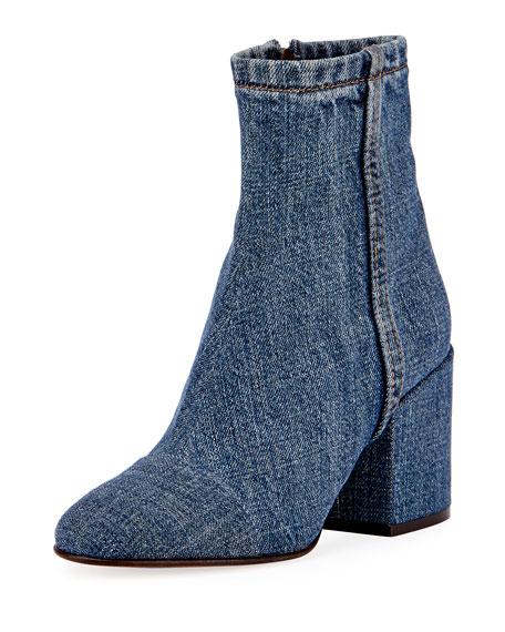 Denim Block-Heel Ankle Boot, Blue