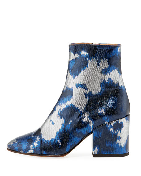 Metallic Brocade Block-Heel Bootie