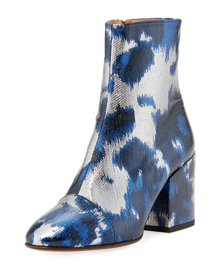 Dries Van Noten Metallic Brocade Block-Heel Bootie