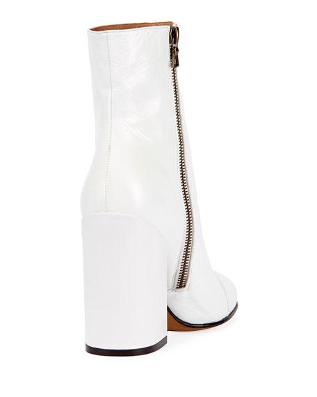 Leather 100mm Block-Heel Bootie, White