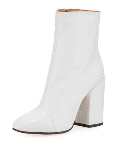 Leather 100mm Block-Heel Bootie, White
