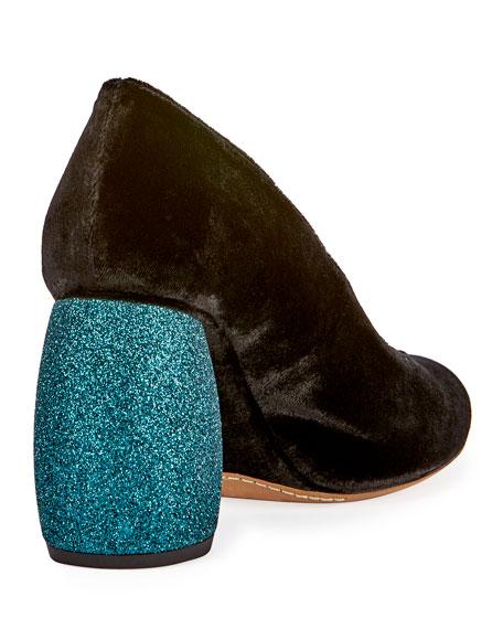 Velvet Glitter-Heel Pump, Turquoise