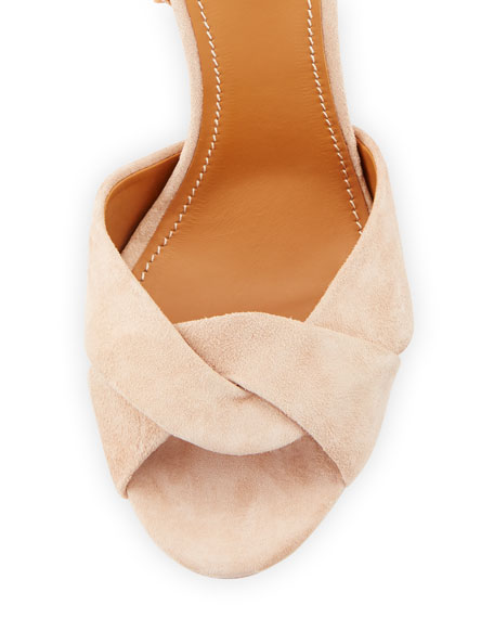Embroidered Block-Heel Suede Sandal