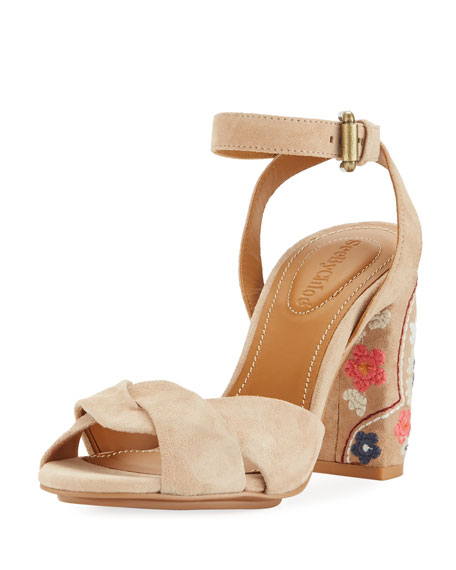 Excellent Online Chloé Embroidered sandals Cheap Sale Wiki Ee48L1c