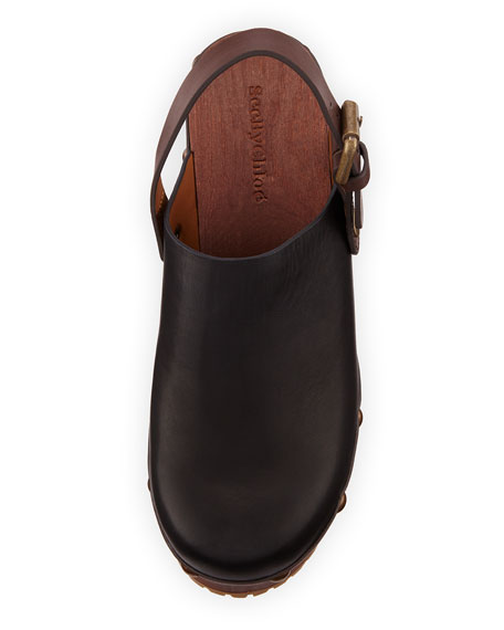 Platform Leather Clog, Black