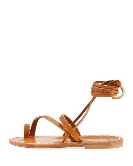 Ellada Leather Ankle-Wrap Sandal, Neutral
