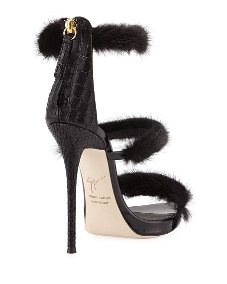 Strappy Mink Fur 110mm Sandal, Black