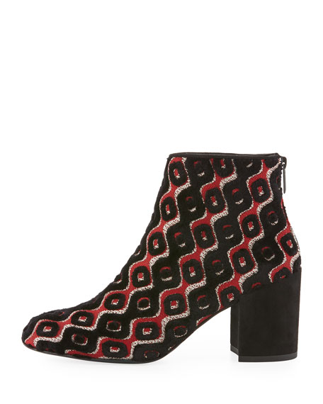 Bacari Tapestry Chunky-Heel Bootie, Rosso