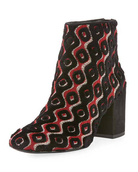 Stuart Weitzman Bacari Tapestry Chunky-Heel Bootie, Rosso