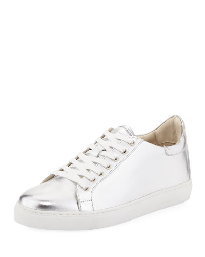 Metallic Leather Low-Top Sneaker