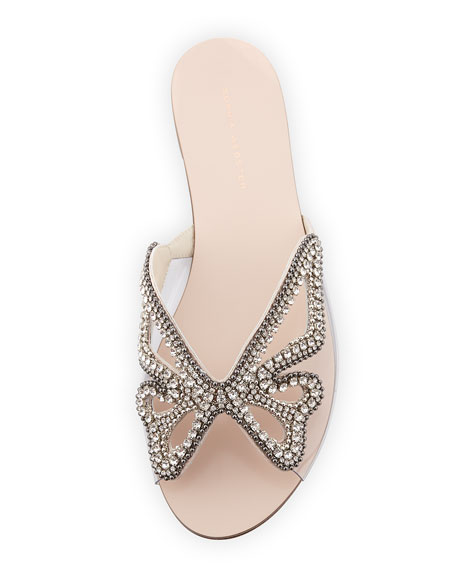 Crystal Butterfly Flat Slide Sandals, Nude