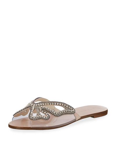 Crystal Butterfly Flat Slide Sandal, Nude