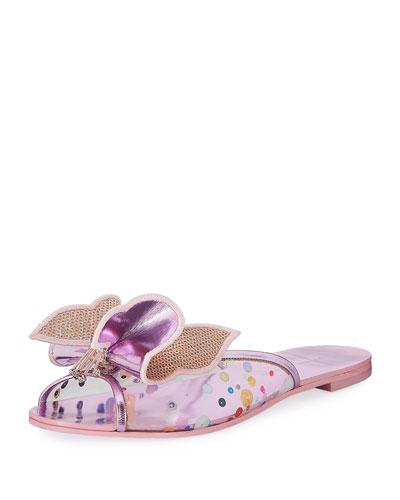 Mesh Butterfly Flat Slide Sandal, Pink