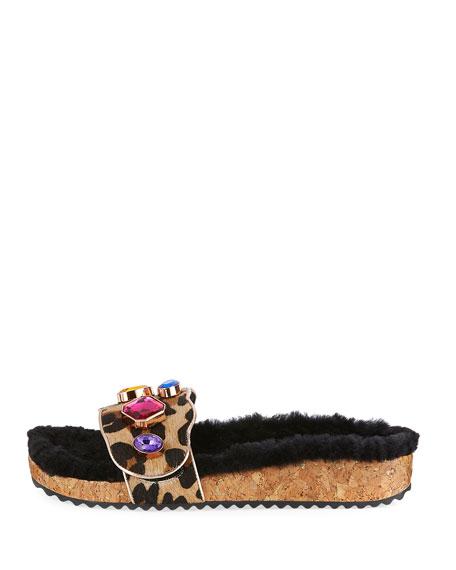 Lyla Gem Leopard-Print Slide Sandal, Medium Beige
