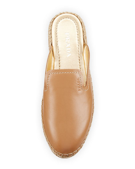 Leather Espadrille Mule Slide, Neutral