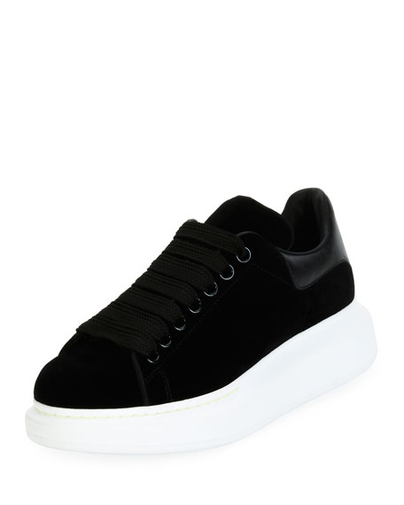 Alexander McQueen Velvet Low-Top Wedge Sneaker, Black