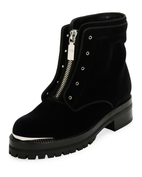 Alexander McQueen Flat Velvet Zip Combat Boot, Black