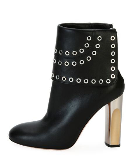 Grommet-Studded Leather Bootie, Black