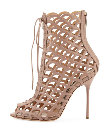 Laser-Cut Leather Lace-Up Sandal, Beige