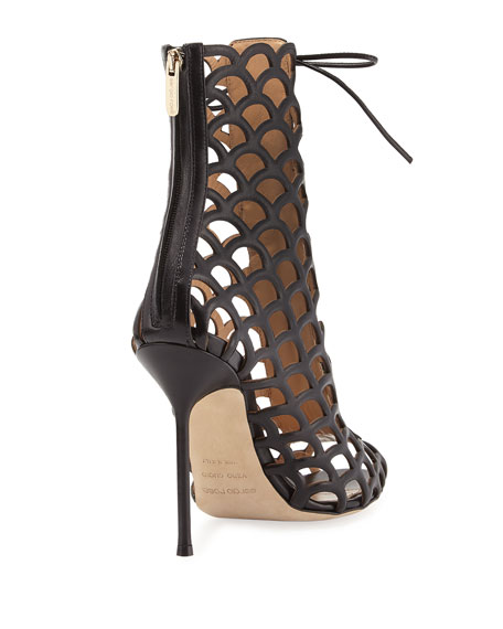 Laser-Cut Leather Lace-Up Sandal, Black