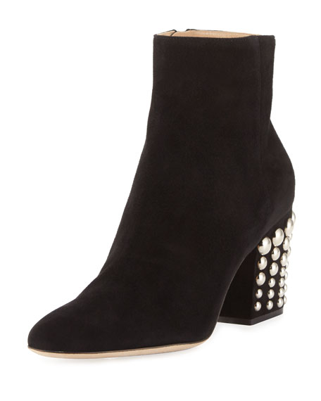 Suede Stud-Heel 75mm Boot, Black