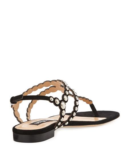 Studded T-Strap Flat Suede Sandal, Black