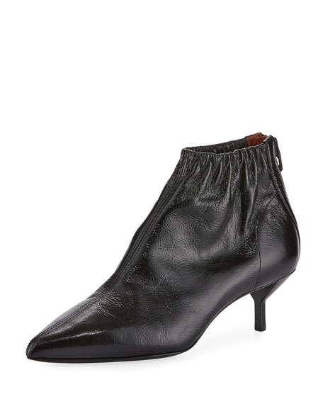 Blitz Ruched Leather Bootie, Black