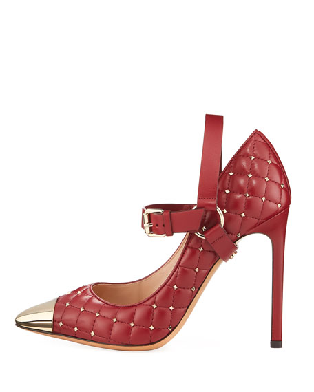 Rockstud Quilted Cap-Toe Pump
