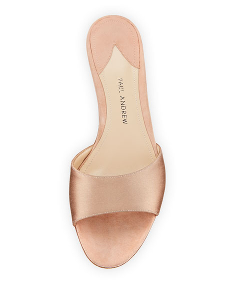 Arco Satin Crystal-Heel Slide Sandals, Blush