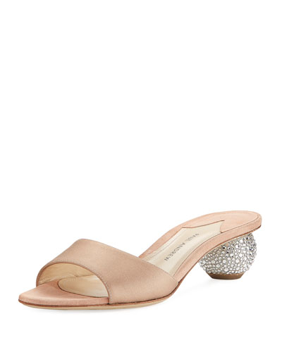 Arco Satin Crystal-Heel Slide Sandal, Blush