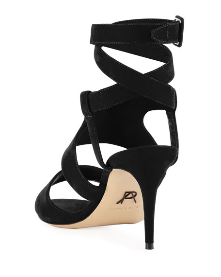 Baguetta Strappy Suede Sandal, Black