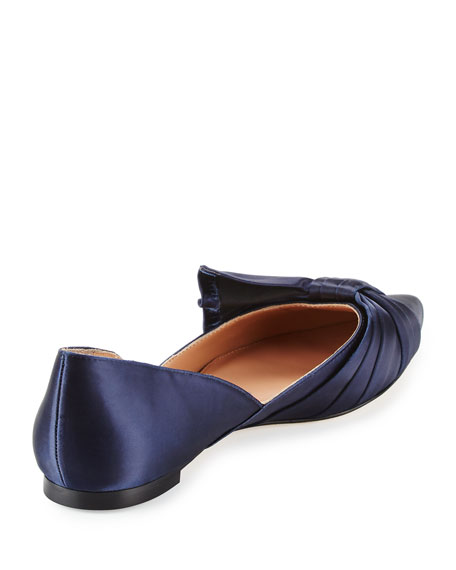 Simona Pleated Satin d'Orsay Flat