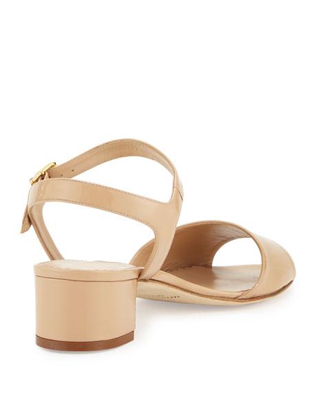 Affian Patent Chunky-Heel Sandal