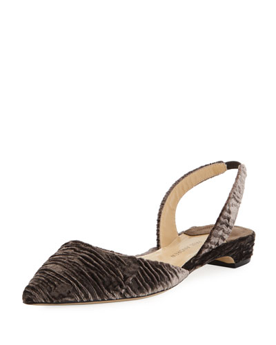 Rhea Ruched Velvet Slingback Flat